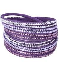 Lodestar Kožený náramek dvouřadý s krystaly fialový