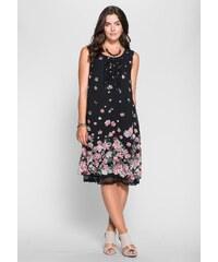 Große Größen: sheego Style Jerseykleid mit Blütendruck, schwarz-rosé, Gr.40-58