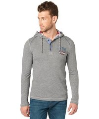Tom Tailor T-Shirt longsleeve henley with hood grau L,M,XL,XXL,XXXL