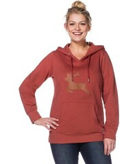 Damen Casual Kapuzen-Sweatshirt mit Kängurutasche SHEEGO CASUAL orange 40/42,44/46,48/50,52/54,56/58