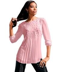 Damen Lady Bluse in fließender leicht transparenter Chiffon-Qualität LADY rosa 36,38,40,42,44,46,48,50,52,54