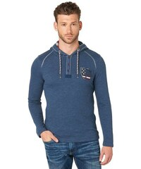 T-Shirt longsleeve henley with hood Tom Tailor blau L,XL,XXL,XXXL