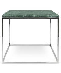 Konferenční stolek Gleam 50 cm, zelený mramor + pochromovaná podnož
