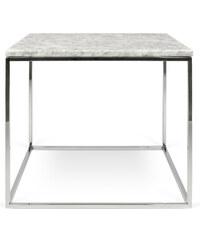 Konferenční stolek Gleam 50 cm, bílý mramor + pochromovaná podnož