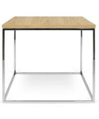 Konferenční stolek Gleam 50 cm, dub + pochromovaná podnož