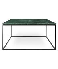 Konferenční stolek Gleam 75 cm, zelený mramor + černá podnož