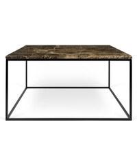 Konferenční stolek Gleam 75 cm, hnědý mramor + černá podnož