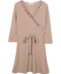 Lesara Kleid mit Ösen-Details - Beige - S