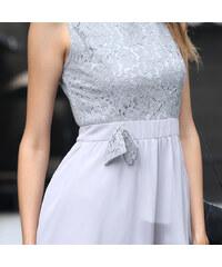 Lesara Kurzes Kleid mit Spitzentop - Grau - S