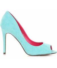 Ideal Shoes dámské polobotky tyrkysové