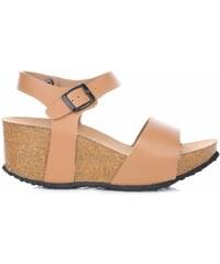 Ideal Shoes Dámské boty na platformě camel