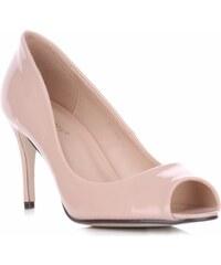 Ideal Shoes lakované dámské polobotky béžové