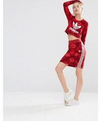 adidas Originals - Floraler Rock mit drei Streifen - Rot