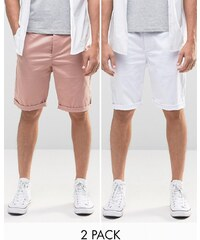ASOS - Lot de 2 shorts chino longs - Rose et blanc - Multi