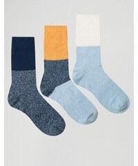 ASOS - Lot de 3 paires de chaussettes pour bottes avec extension côtelée et effet color block - Multi