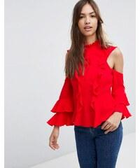 ASOS - Blouse à volants avec épaules dénudées et lien - Rouge