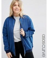 ASOS CURVE - Übergroße Jeans-Bomberjacke - Blau