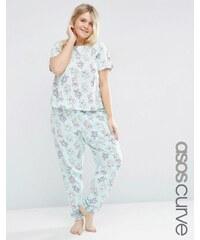 ASOS CURVE - Teddy Bear - Pyjamaset mit T-Shirt und Leggings - Grün
