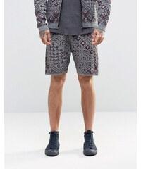ASOS - Strick-Shorts mit Aztekenmuster - Grau