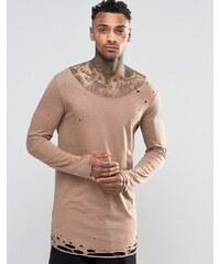 ASOS - T-shirt long à manches longues avec ourlet effet usé - Marron