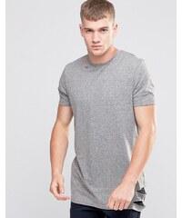 ASOS - T-shirt long avec ourlet déchiré et encolure lacérée - Gris