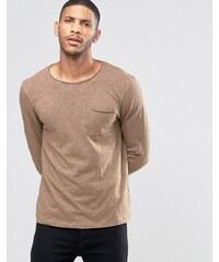 ASOS - T-shirt flammé manches longues avec bords bruts - Beige - Marron