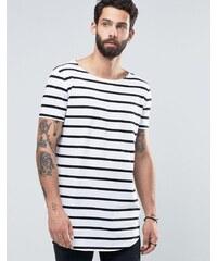 ASOS - T-shirt rayé super long avec ourlet arrondi et encolure bateau - Blanc