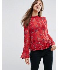 ASOS - Victoriana - Bluse mit Spitzeneinsätzen und Blumenmuster in Rot - Mehrfarbig