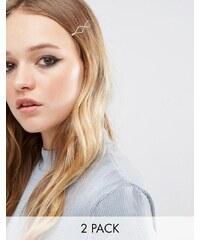 DesignB London - Ungleiche Haarspangen mit geometrischem Muster - Gold