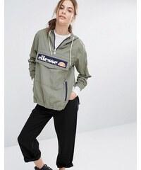 Ellesse - Veste à enfiler à capuche avec logo sur le devant et demi-fermeture éclair - Vert