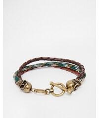Icon Brand - Bracelet tressé avec tête de mort - Vert