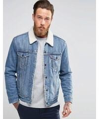 Levis Levi's - Buckman Type 3 - Veste en jean style camionneur avec doublure en fausse fourrure - Bleu