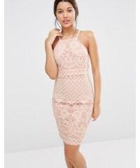 Missguided - Doppellagiges Kleid aus Spitze mit dünnen Trägern - Rosa