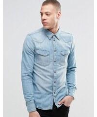 Nudie Jeans Nudie - Jonis Bronson - Chemise en jean style western - Délavage bleu clair - Bleu