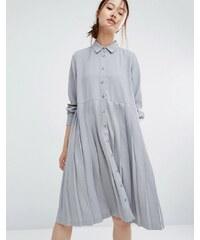 Zacro - Oversize-Hemdkleid mit plissiertem Saum - Grau