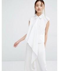 Zacro - Ärmelloses Hemd mit asymmetrischer Oberlage - Weiß