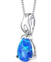 Eppi Modrá opálová slza ve stříbrném náhrdelníku Hanan