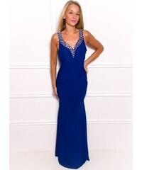 Glamorous by Glam Společenské dlouhé šaty s kamínky v dekoltu - modrá