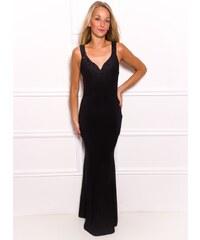 Due Linee Společenské dlouhé šaty s volnými zády - černá