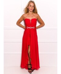 Due Linee Společenské dlouhé i krátké šaty bez ramínek s krajkou - červená