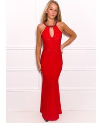 Due Linee Společenské dlouhé šaty s výkrojem na zádech - červená