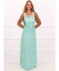 Due Linee Společenské dlouhé šaty s jemnými kamínky - světle zelená