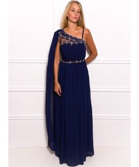 Due Linee Společenské dlouhé šaty na jedno rameno s modrým zdobením - modrá