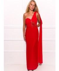 Due Linee Společenské dlouhé šaty na jedno rameno se šálem a korálky - červená