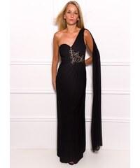Due Linee Společenské dlouhé šaty na jedno rameno se šálem a korálky - černá