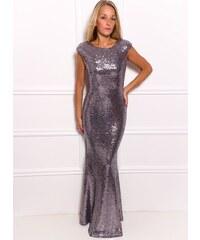 Due Linee Společenské luxusní dlouhé šaty s flitry - stříbrná