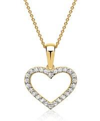 Unique Jewelry 333er Gold Herz Anhänger mit hellen Zirkonia GP0224