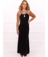 Due Linee Společenské dlouhé šaty s kamínky kolem krku a zádech - černá