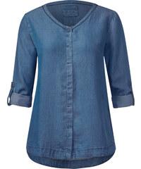 Cecil V-Neck Denimlook-Bluse - mid blue wash, Herren