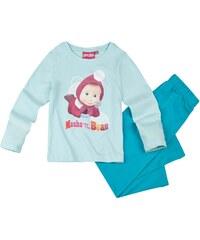 Mascha und der Bär Pyjama blau in Größe 104 für Mädchen aus 100% Baumwolle